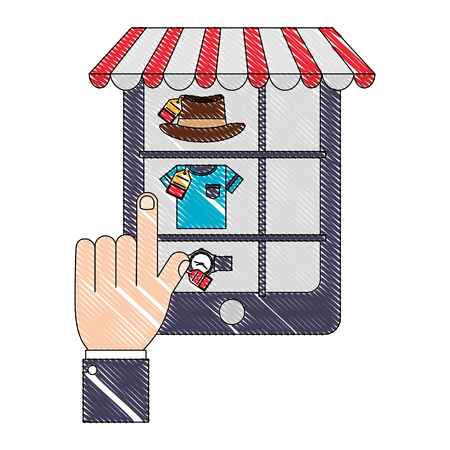 smartphone hand click select food delivery online vector illustration