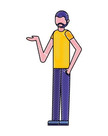 beard man cartoon figure male vector illustration Ilustração