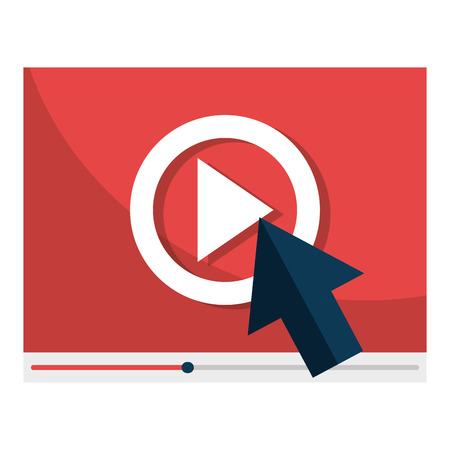 media player interface with cursor vector illustration design