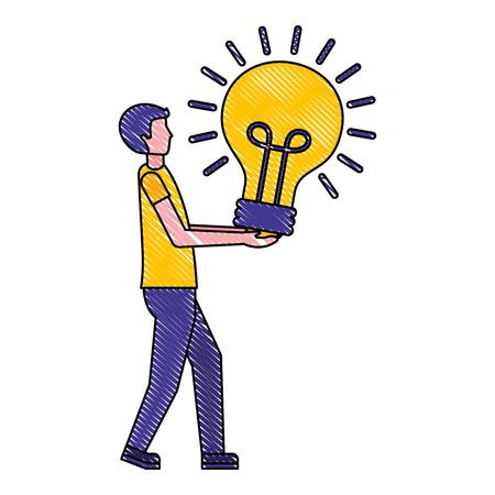 man holds light bulb idea creativity vector illustration Ilustração