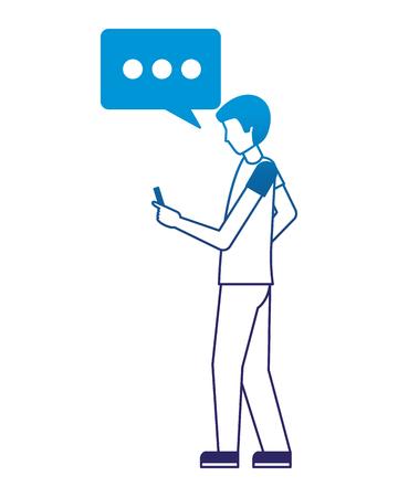 man character using smartphone device vector illustration neon design