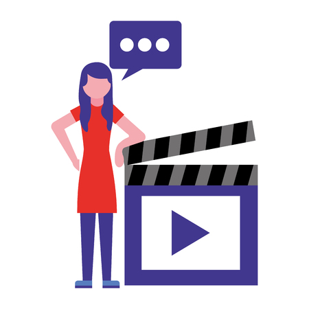 woman speech bubble and movie clapperboard vector illustration