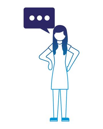 woman character talk bubble communicaton vector illustration neon design Illustration