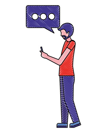 man character using smartphone device vector illustration