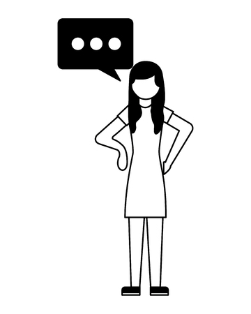 woman character talk bubble communicaton vector illustration
