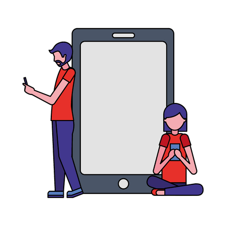 man and woman using cellphones devices smartphone vector illustration