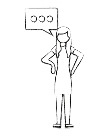 woman character talk bubble communicaton vector illustration hand drawing Illustration