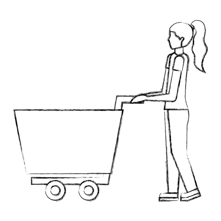 woman with shopping cart ecommerce concept vector illustration hand drawing
