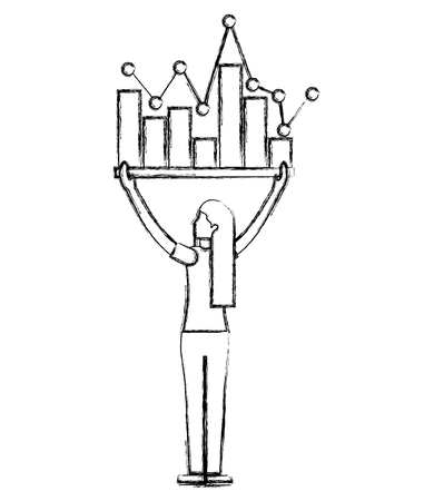 woman holding statistics bar diagram business vector illustration hand drawing
