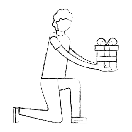 man on the knee  holding  gift box vector illustration hand drawing Çizim
