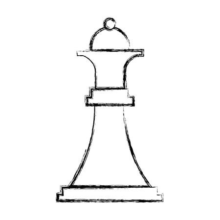 figuur schaken koningin stuk pictogram vector illustratie hand tekenen