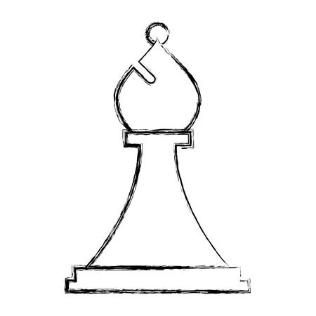 La figure des échecs évêque pièce icône vector illustration dessin à la main Vecteurs
