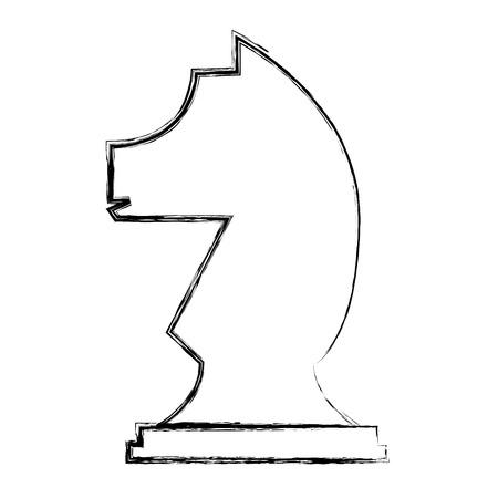 Figur Schach Ritter Stück Symbol Vektor-Illustration Handzeichnung