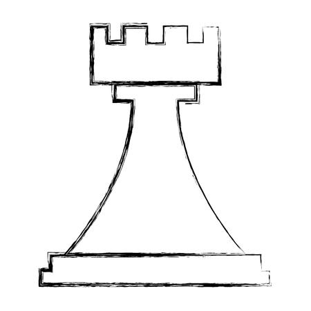 figura scacchi rook pezzo icona illustrazione vettoriale disegno a mano