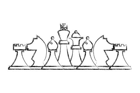 Jeu de pièces d'échecs jeu de stratégie vector illustration dessin à la main Vecteurs