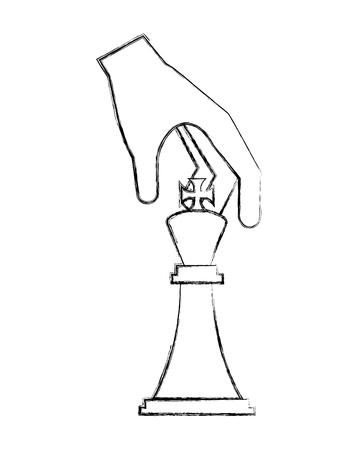 Main tenant la pièce d'échecs king vector illustration dessin à la main