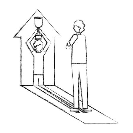 Mann projiziert auf Pfeil gewinnen Business-Vektor-Illustration Handzeichnung