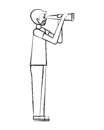 Bartmann, der Teleskopbeobachtungsvektorillustrationshandzeichnung hält