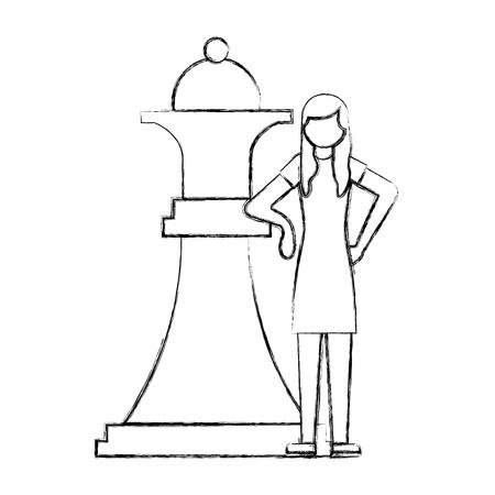Femme avec grande pièce d'échecs reine vector illustration dessin à la main