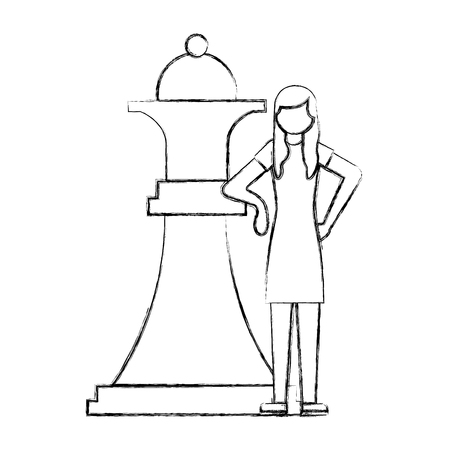 woman with big chess piece queen vector illustration hand drawing Illustration