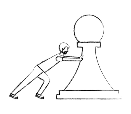 man pushing chess piece pawn strategy vector illustration hand drawing
