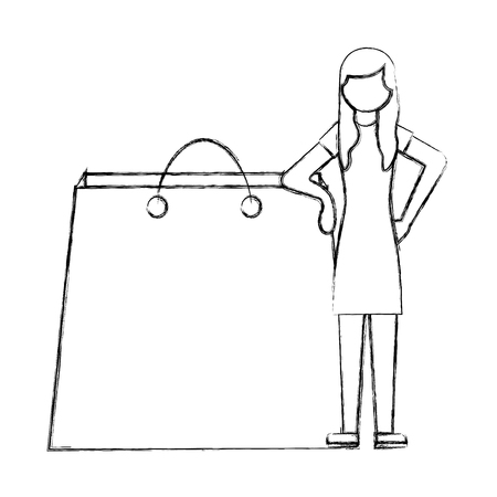 woman standing with shopping bag vector illustration hand drawing Illustration