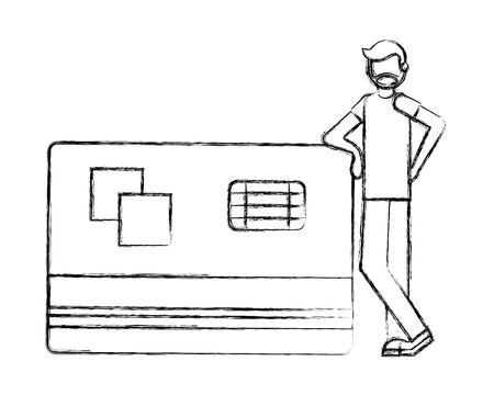 beard man with big bank credit card vector illustration hand drawing Illustration