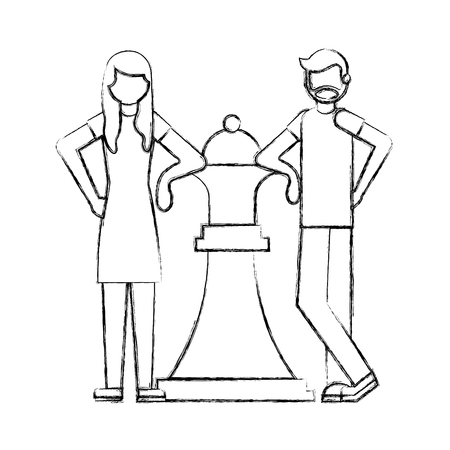 man and woman with big piece chess queen vector illustration hand drawing