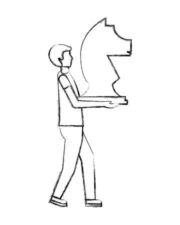 business man holding piece chess knight vector illustration hand drawing Ilustrace