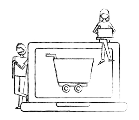 woman using laptop man shopping cart on screen vector illustration hand drawing Banque d'images - 112073201