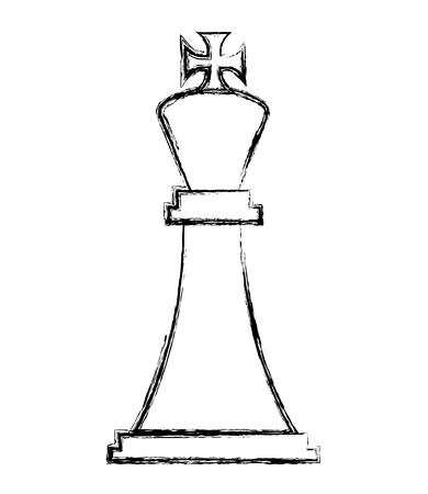 Figur Schach König Stück Symbol Vektor-Illustration Handzeichnung