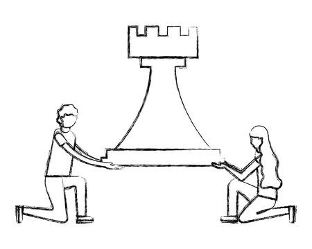 uomo e donna che tengono la figura della torre degli scacchi illustrazione vettoriale disegno a mano Vettoriali