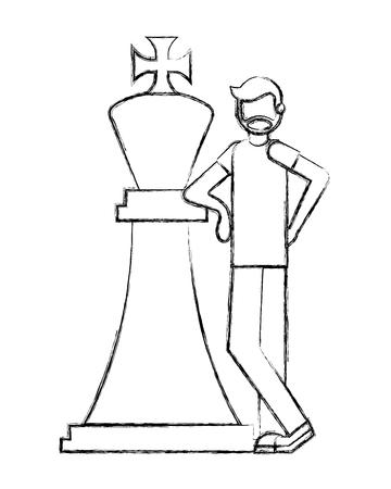 Hombre de barba con gran rey de ajedrez figura ilustración vectorial dibujo a mano