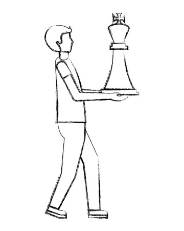businessman holding chess king piece vector illustration hand drawing