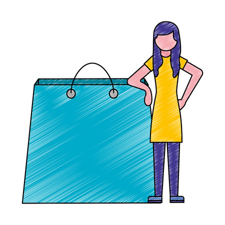 woman standing with shopping bag vector illustration