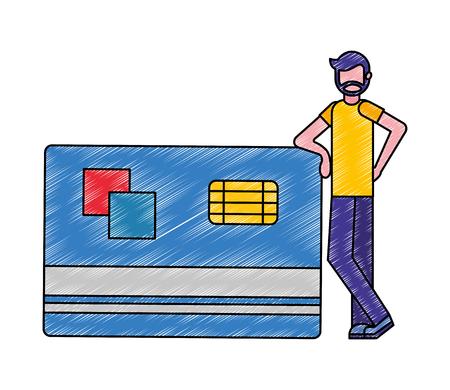 Hombre de barba con ilustración de vector de tarjeta de crédito de banco grande