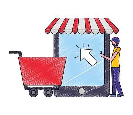 man clicking cellphone shopping cart business vector illustration