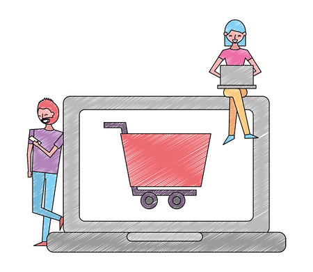 woman using laptop man shopping cart on screen vector illustration Banque d'images - 112073217