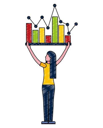 woman holding statistics bar diagram business vector illustration Illustration