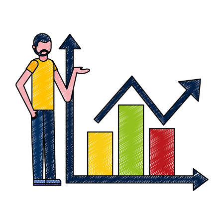 man showing statistics bar growth arrow business vector illustration