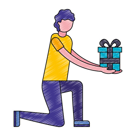 man on the knee  holding  gift box vector illustration