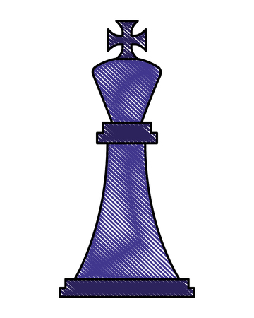 figure chess king piece icon vector illustration