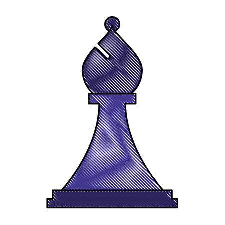 figure chess bishop piece icon vector illustration Illustration
