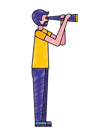 Hombre de barba con ilustración de vector de observación de telescopio