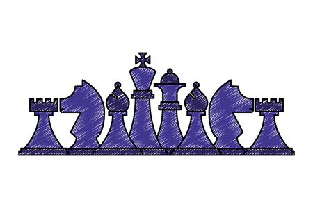 chess pieces set strategy game vector illustration