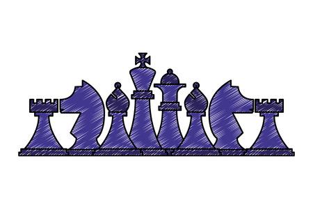 Schachfiguren setzen Strategiespielvektorillustration