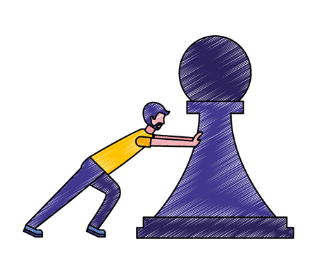 man pushing chess piece pawn strategy vector illustration