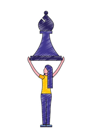back view woman holding chess piece bishop vector illustration Illustration