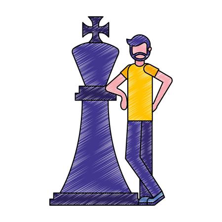 beard man with big chess king figure vector illustration Illustration