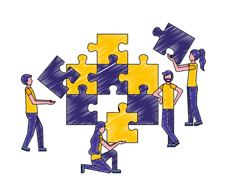 people connecting puzzle pieces the puzzle vector illustration